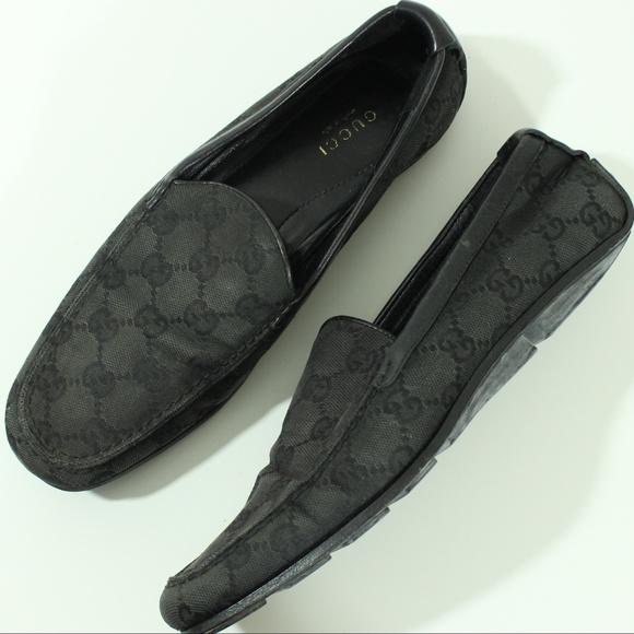 bef1111daa179 Gucci Shoes | Gg Black Canvas Loafers Monagram Horsebit | Poshmark